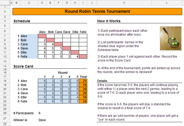 How to schedule a tennis tournament spreadsheetsolving for Table tennis tournament template