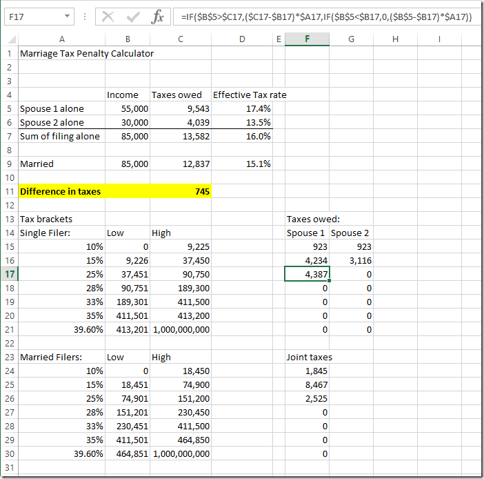 Build a marriage tax penalty calculator spreadsheet ...